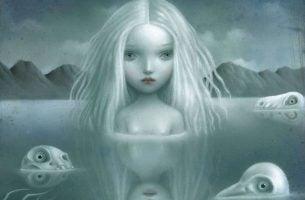 Meisje Dat Tot Haar Hoofd Onder Water Staat Met Allemaal Drijvende Schedels Om Haar Heen Als Symbool Voor Emotionele Vergiftiging