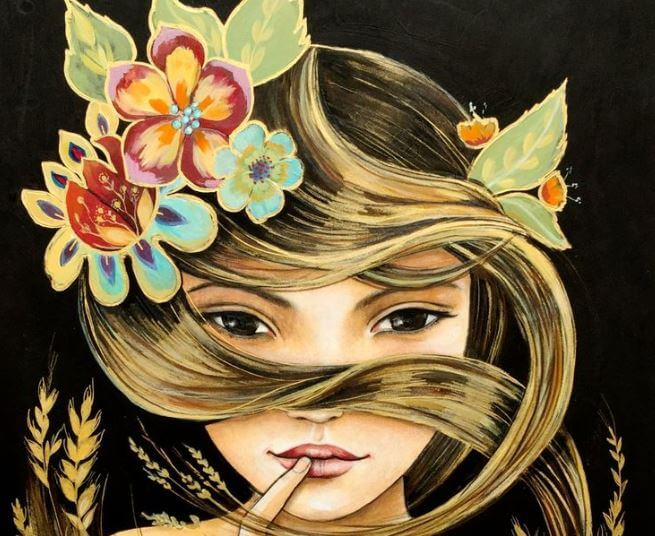 Meisje met Bloemen in het Haar