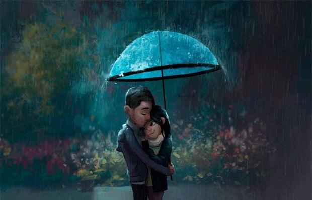 Knuffelend Stel onder Paraplu