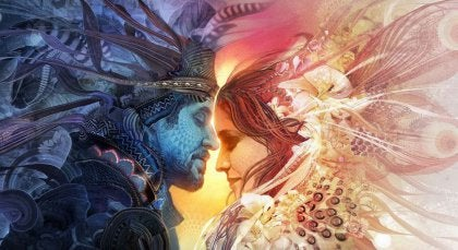 Man en vrouw op hun eerste ontmoeting