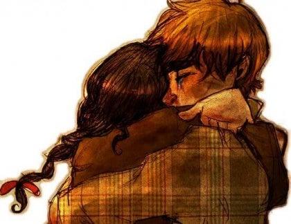 Twee mensen die elkaar omhelzen op hun eerste ontmoeting na lange tijd