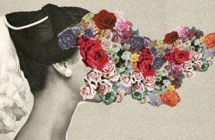Vrouw bij wie er allemaal bloemen uit haar gezicht komen maar dit is geen rommel