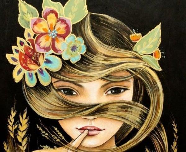 Meisje met bloemen in haar haar en een vrouwelijk brein in haar schedel