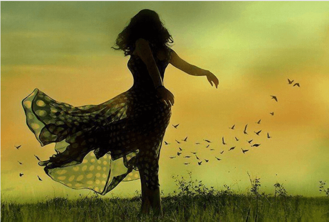 Vrouw Dansend in het Veld