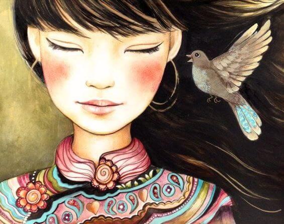 Meisje en Vogel