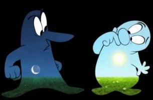 Twee personages uit de film Day And Night over de rijkdom van het mengen van onze verschillen