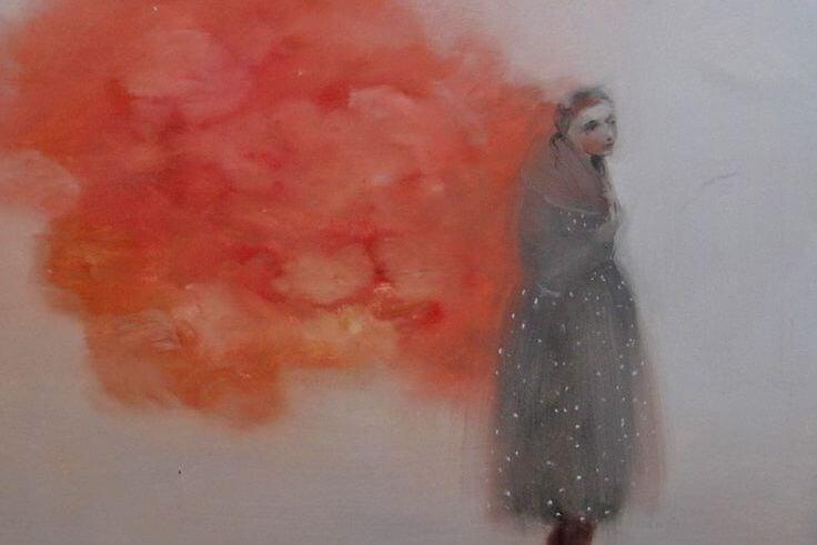 Vrouw in Roze Wolk