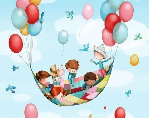 Kinderen met Ballonnen genieten van hun jeugd