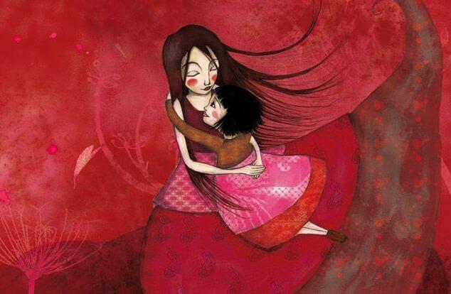 Moeder knuffelt met kind en denkt terug aan haar jeugd