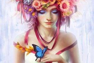 Bloemen en Vlinder