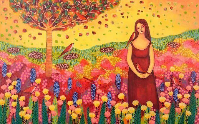 Vrouw in Bloemenveld