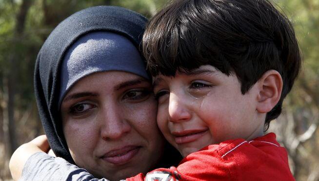 Huilende Vluchtelingenkind