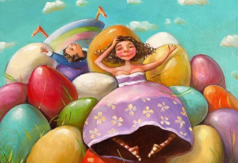Vrouw op Stapel Eieren