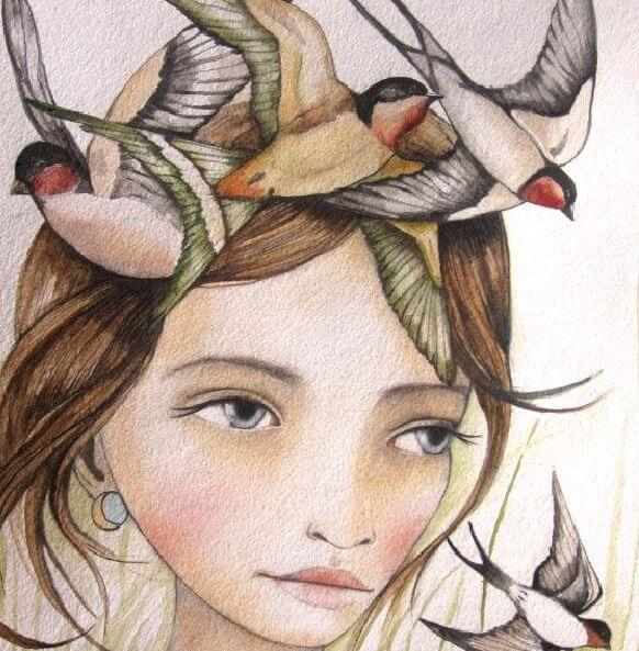 Vrouw met Vogels op het Hoofd