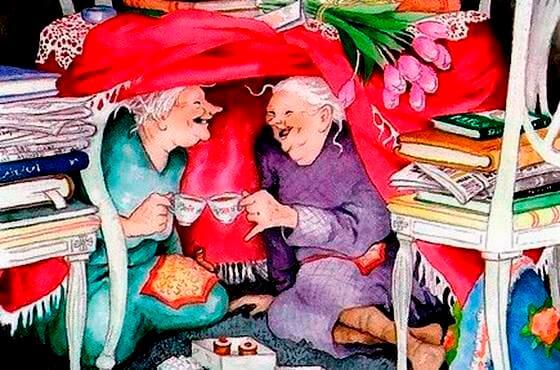 Oma's in een Hut