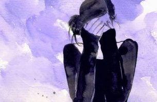 Vrouw die Gezicht Bedekt