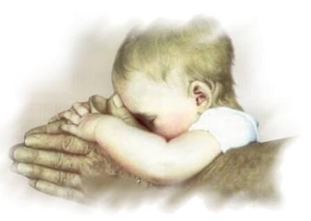 Tekening Van Een Baby In De Handen Van Een Volwassene