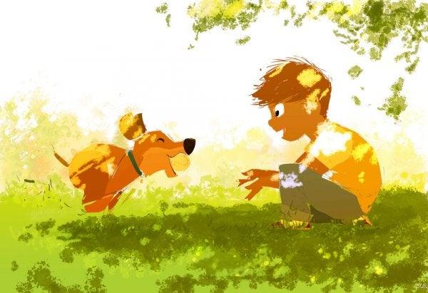 Jongen Die Met Zijn Hond Speelt