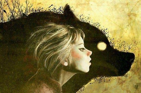 Gezicht Van Een Meisje Naast Het Hoofd Van Een Wolf Maar Ze Geeft De Wolf Niet De Schuld Want Ze Kijkt Uit Waar Ze Loopt