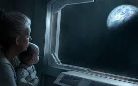 Een Oma Met Haar Kleinkind Die Samen Naar de Maan Kijken