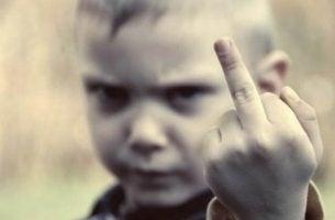 Jongetje Dat Zijn Middelvinger Opsteekt