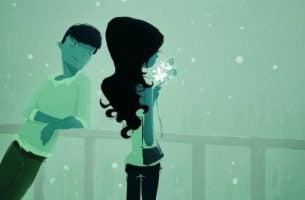 Jongen Die Een Meisje Bewondert Geef Met Liefde