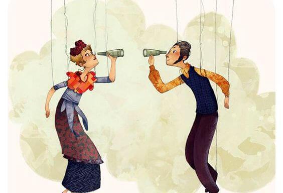 Twee Marionetten Die Naar Elkaar Kijken Door Een Fles