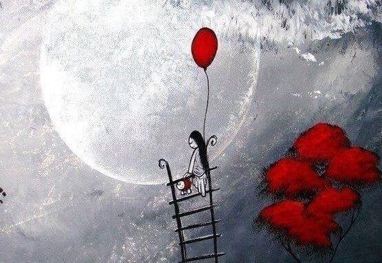 Meisje Die Met Een Ballon In Haar Handen Een Ladder Naar De Maan Beklimt Omdat Eenzaamheid Noodzakelijk Is