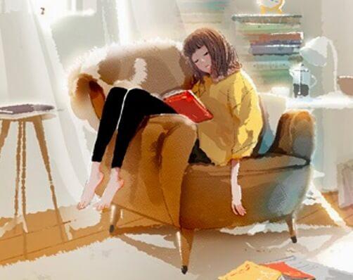 Meisje Dat Ervan Geniet Om Lekker In Haar Grote Stoel Een Boek Te Lezen