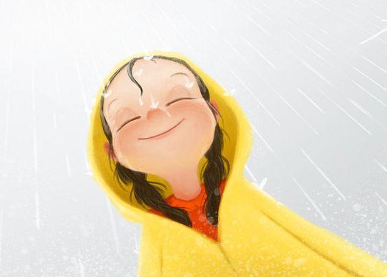 Meisje Dat Vrolijk Door De Regen Loopt En De Regen Nergens De Schuld Van Geeft