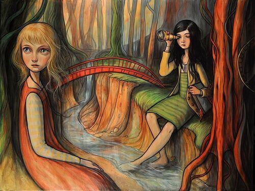 Afgunst Herkennen: Twee Meisjes In Een Bos, Een Heeft Verrekijker