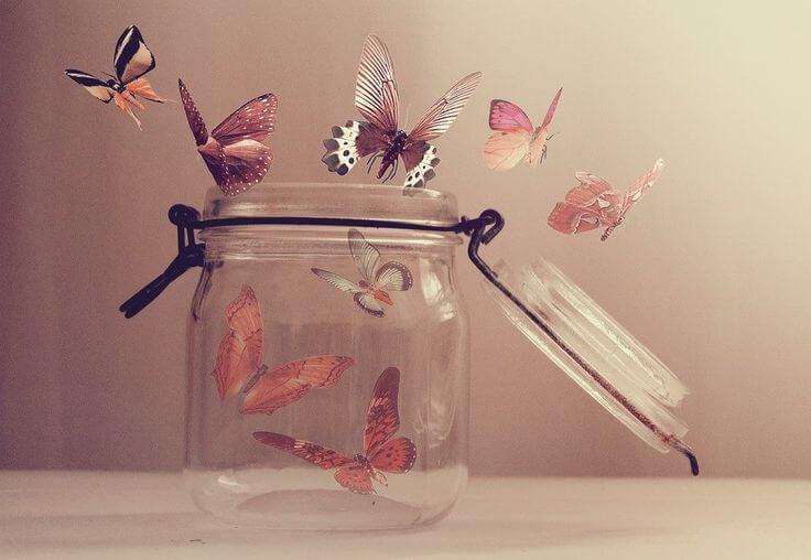 Vlinders Die Uit Een Potje Vliegen