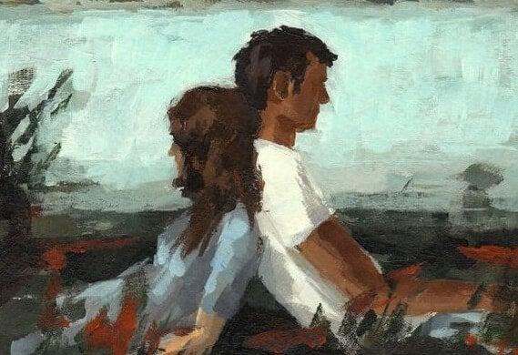 Man En Vrouw Met Hun Rug Tegen Elkaar Vanwege De Beproevingen Van Het Leven