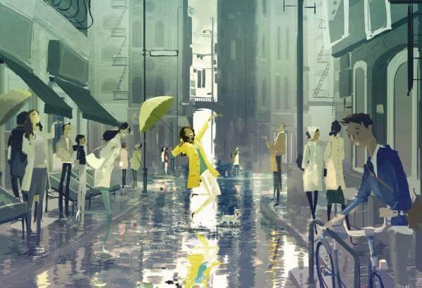 Vrouw Die Danst In De Regen Zonder Hiervoor Toestemming Nodig Te Hebben