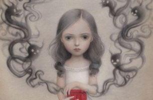 Een Meisje Dat Een Rode Tas Draagt Waar Rook Uitkomt En Is Niet Het Voorbeeld Van Mensen Die Van Je Houden Om Wie Je Bent