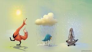 Vos Die Vrolijk Loopt Te Zingen In De Zon, Vogel Die Zielig In De Regen Staat En Een Koe Die Zit Te Mediteren In De Sneeuw Als Voorbeeld Van Dat We Aantrekken Wat We Uitstralen