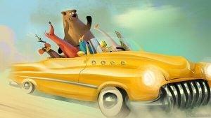 Dieren Die Vrolijk Rondrijden In Een Gele Cabrio Omdat Ze Weten Dat We Aantrekken Wat We Uitstralen