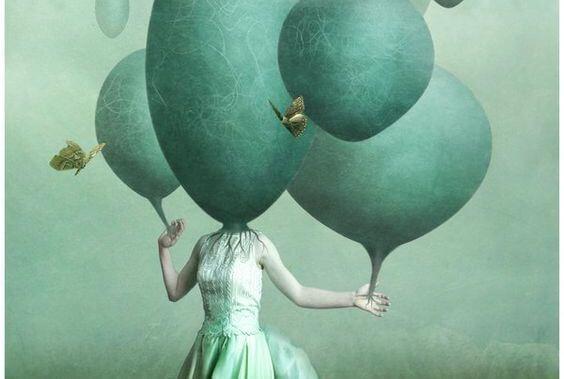 Meisje Wiens Hoofd Op Een Ballon Lijkt Omdat Ze Lijdt Aan Chronisch Slaaptekort