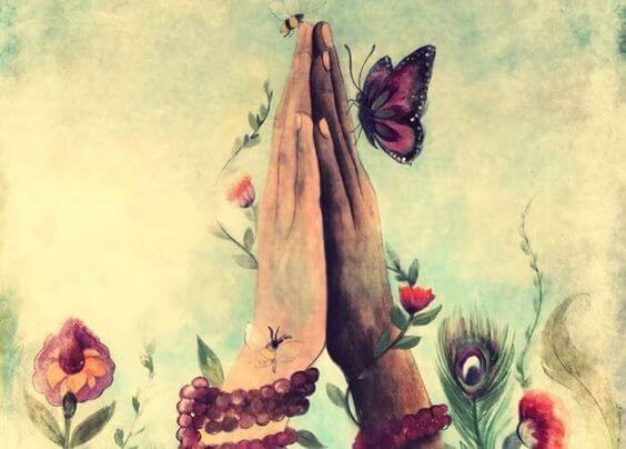Twee handen tegen elkaar aan wat me laat voelen dat genegenheid nog steeds bestaat
