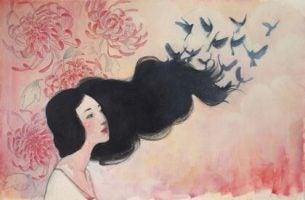 Aziatische Vrouw Wiens Haren In Vogels Veranderen Naarmate Ze Haar Emotionele Rugzak Uitpakt