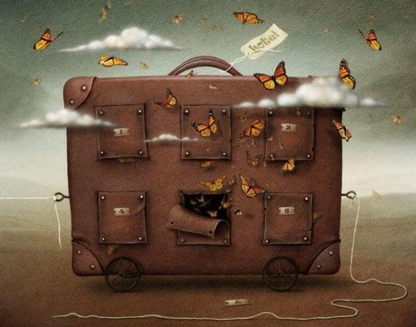 Volle Koffer Met Vlinders Eromheen Omdat Afstand Nemen Soms Noodzakelijk Is