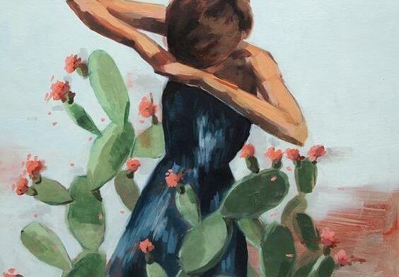 Meisje Dat Tussen De Cactussen Staat Als Voorbeeld Van Hoe We Onze Emoties Verwaarlozen