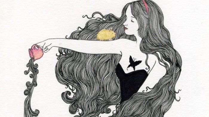 Een Meisje Met Zeer Lang Haar Dat Een Kopje Om Leeg Laat Stromen En Het Voorbeeld Is Van Introverte Mensen