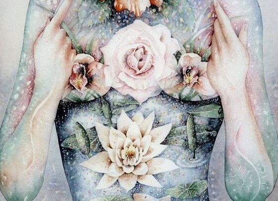 Twee Handen Met Een Roos En Een Lelie Ertussen Als Balans Tussen Lichaam En Geest