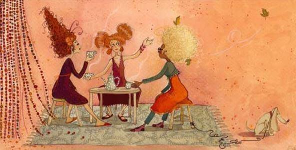 Drie Vrouwen Die Met Elkaar Praten Onder Het Genot Van Een Kop Koffie De Mensen Die Van Je Houden Zetten Namelijk Koffie Voor Je
