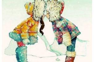 Twee Eskimomeisjes Die Elkaar Zoenen En Het Voorbeeld Zijn Van Mensen In Je Leven Die Blijven