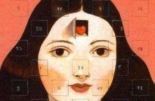 Gezicht Van Een Meisje Als Adventkalender
