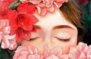 Rode Bloemen Voor Het Gezicht Van Een Meisje Omdat We Allemaal Onze Emoties Verwaarlozen