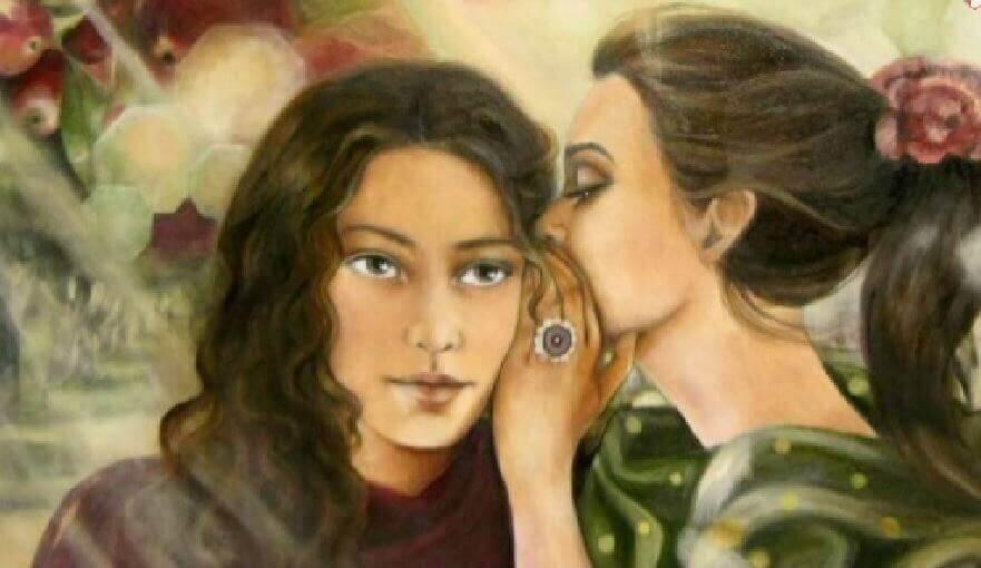 Meisje Dat In Het Oor Van Een Ander Meisje Fluistert Als Voorbeeld Van Mensen In Je Leven Die Blijven