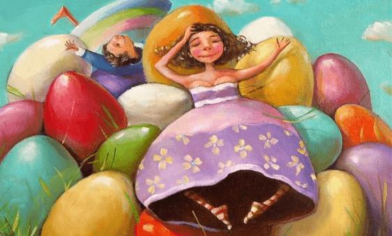 Jongen En Een Meisje Die Op Een Heuvel Van Gekleurde Paaseieren Liggen Want Ze Laten Niets Of Niemand Hun Glimlach Wegnemen